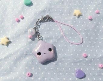 Kawaii Cold Porcelain Polymer Clay Star Keychain/Phone Strap