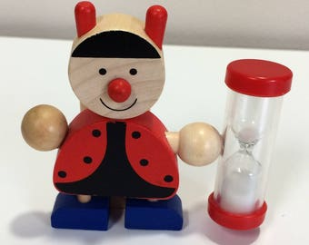 Vintage Painted Wood Ladybug Figure Kitchen Timer with hour glass