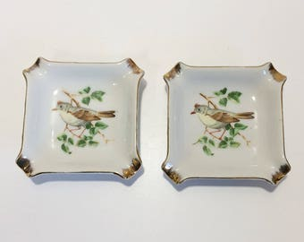 Vintage Ceramic Cigarette Ashtray x2 Bird on a Branch