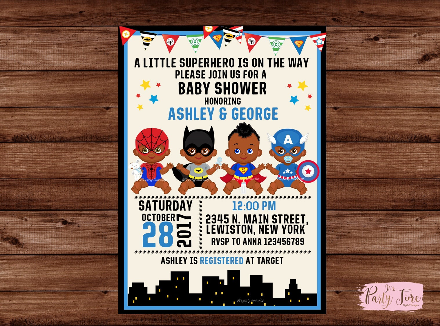 African American Superhero Baby Shower Invitation -Superhero Baby ...