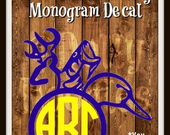 Hunting Monogram Decal - TWO COLOR Decal - Monogram Decal - Hunting Decal