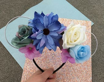 Aqua Blues inspired Floral Wire Mickey Ears