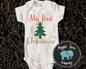 My First Christmas, First Christmas Outfit, Onesie, Bodysuit, First Christmas Onesie, Christmas Onesie, Holiday Onesie, Baby Shower Gift