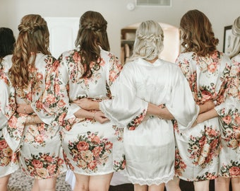 Bridesmaid Gifts- 7 Floral Bridesmaid Robes-Bridesmaids Robes for your party of seven- Available Monogramming