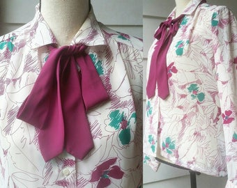 Vintage Abstract Floral Blouse || Bow Tie || 80s Fashion