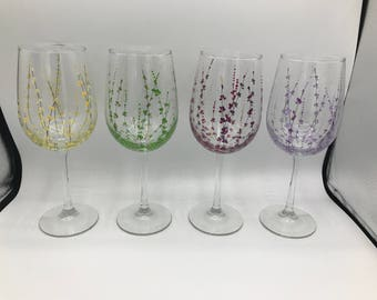 Set Of 4 Hand Painted Glasses - Meadow - Classic Wine Handpainted Glass Glassware