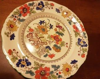 Vintage/Masons/Bible Pattern Green w.e. patent/ironstone/antique plate.