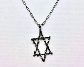 Germau sterling silver star of David necklace #130