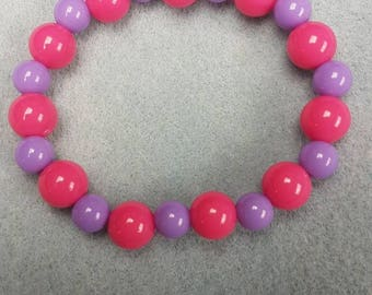Pink and purple beaded bracelet