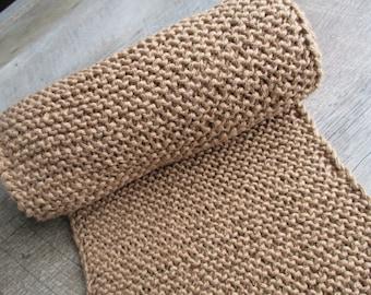 Hand Knit Cotton Scarf - Tan