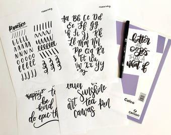 Brush Lettering, Hand Lettering, Brush  Calligraphy, Hand Lettering Kit, Lettering, Learn Lettering, Lettering Worksheets, Brush Pen