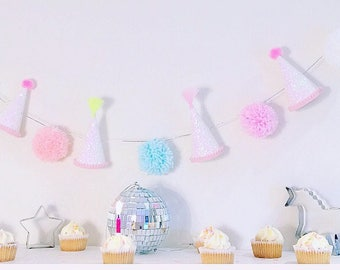 PARTY HAT GARLAND || Party Hat + Pompom Bunting || Party Hat + Pompom Garland