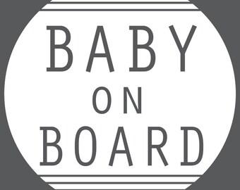 Baby On Board Decal - Circle Stripe