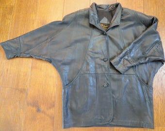 Reed Sportswear Black Leather Motorcycle Dolman Sleeve Slouchy Sleeve City Slicker Unisex