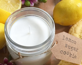 8 oz. Lemon Sugar Cookie Hand Poured Pure Soy Candle with Cotton Wick