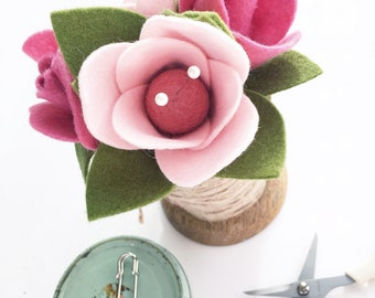 Felt Flowers Adorning an Oversized Wooden Spool . Pincushion . Vintage Spool with Felt Flowers . Pink Flowers