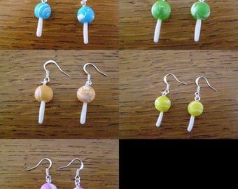 Choose pair of dangle earrings, round lollipops