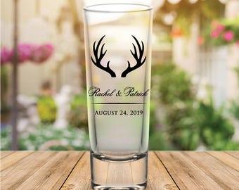 Custom Rustic Antlers Tall Wedding Favor Shot Glasses