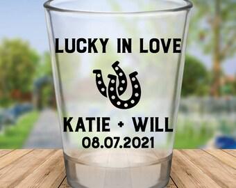"""Custom """"Lucky in Love"""" Wedding Favor Shot Glasses"""