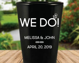 "Custom ""We Do!"" Black Wedding Favor Shot Glasses"
