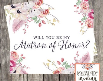 Will You Be My Matron of Honor, Bridal Party Ask Card, Printed Note Card, Wedding Party Card, Bridal Proposal Card, Floral Watercolor,