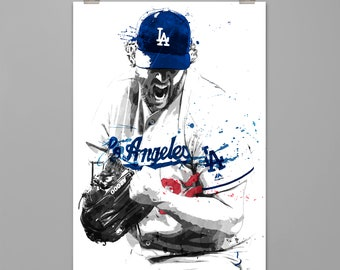 Clayton Kershaw-Los Angeles Dodgers art print Baseball poster Sport wall art Man cave Dorm decor Gift for him Modern art print #0103