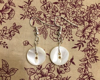 Vintage Pearl Button Dangle Earrings