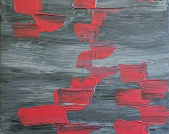 Red Banner - Abstract Acrylic Painting