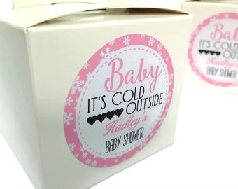 Baby shower stickers, baby shower favour stickers, Baby it's cold outside labels, cusom baby shower stickers, baby it's cold outside 140