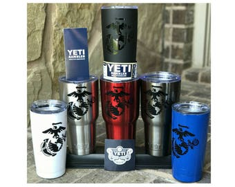 YETI - Authentic USMC US Marine Corps Semper Fi Cup Mug 20 oz or 30 oz tumbler custom retirement gift idea unique present for a veteran vet