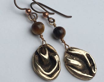 Folded Bronze Earrings with Tiger Eye Beads