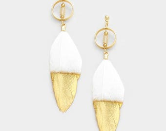 White Gold Dipped Feather Earring