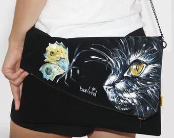 Cat lover gift, Cat bag, Cat purse, Cat lover, Black clutch purse, Black clutch, Clutch purse, Clutch bag, Hand painted bag, Suede bag, cat