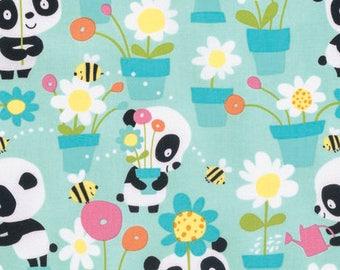 Garden Party - Aqua - Pandas by David Walker from Free Spirit - Pandas Fabrics - Fabric by Yard - David Walker Fabric - Free Spirit Fabrics