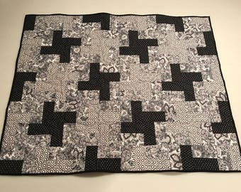 "Black and White Pieced Quilt with Minky Backing 34"" x 42"""