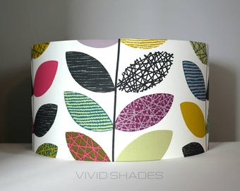 Lampshade Scandi fabric 40cm wide handmade by vivid shades, funky modern retro abstract leaf, genuine Scandinavian fabric, custom made