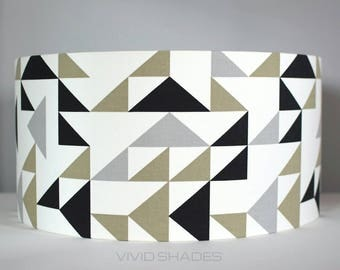 Geometric funky fabric 30 or 40cm handmade vivid shades lampshade, modern retro triangle pattern custom made drum shade black and white