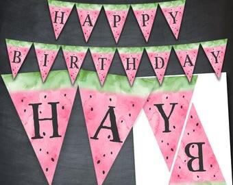 Watermelon Banner, Watermelon Birthday Banner, Watermelon Party, Watercolor, Happy Birthday, Watermelon Printable, Digital, Instant Download