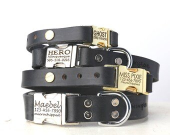 Personalized Engraved Buckle Black Leather Dog Collar -- Classic Side Release Style