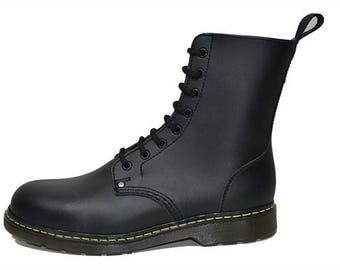 Vegan Punk Rock Yellow Line Mod Gothic Grunge Black Combat Millitary Shoes Boots