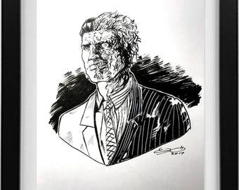 Two Face ink drawing