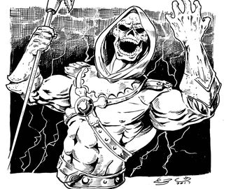 Skeletor Ink drawing from He-Man & The MOTU