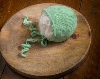Newborn Cotton Bonnet, Handmade Newborn Bonnet, Newborn Knit Bonnet, Newborn Photo Prop,  Newborn  Green Prop Bonnet
