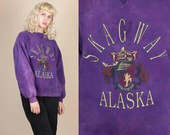 90s Acid Wash Alaska Sweatshirt - Medium // Vintage Skagway Grunge Tie Dye Pullover