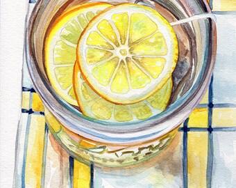 lemonade summer drink beverage Fine art Print FROM original watercolor by Jennifer Redstreake