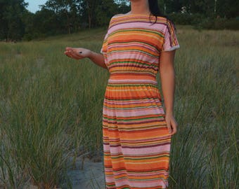 70s Terry Cloth Candy Striped Dress, Colorful Retro Floor Length Maxi