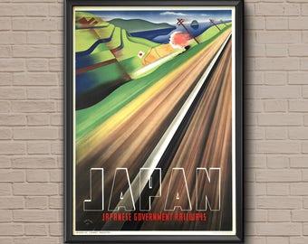 Japan Travel Poster, vintage travel, vintage travel print, japan print, japan travel, travel decor, vintage japanese, japan wall art