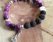 Purple Bracelet with Music Note - BumbleBPhotography