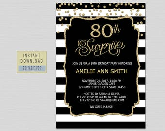 80th surprise birthday invitation instant download, 80th birthday invitations for women, surprise 80th birthday invitation black gold B21