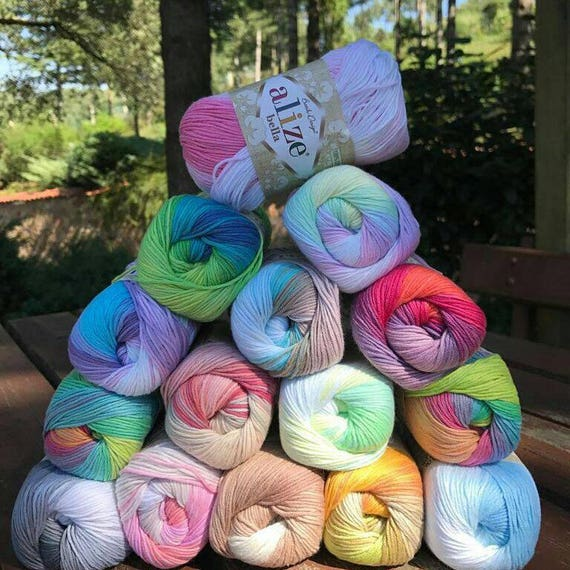 Alize Bella batik, %100 Cotton yarn, Crochet yarn, knitting yarn, baby yarn, soft yarn, hypoallergenic yarn, sport, cotton yarn, toy yarn